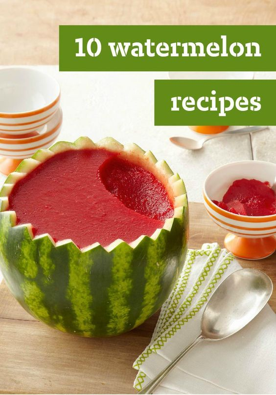 "10 Watermelon Recipes –Summertime means one thing — it's the best time of year to enjoy watermelon. Enjoy the refreshing seasonal fruit in everything from smoothies cupcakes and fresh summer side salads. You can even make your own watermelon ""cake"" for a festive summer dessert recipe that's sure to impress."