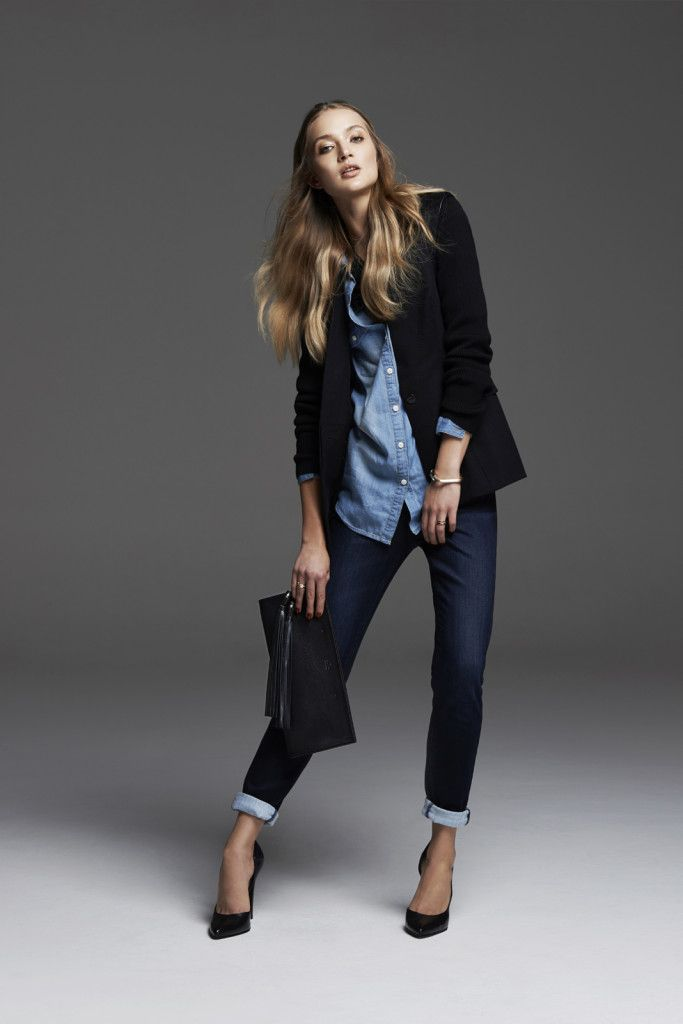 Melton coat, denim shirt and dark denim skinny jeans