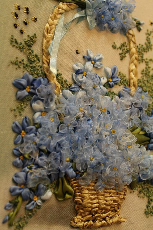 Beautiful blue ribbon embroidery