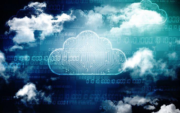 Download wallpapers network cloud, 4k, internet technologies, telecommunication, computing cloud, Internet