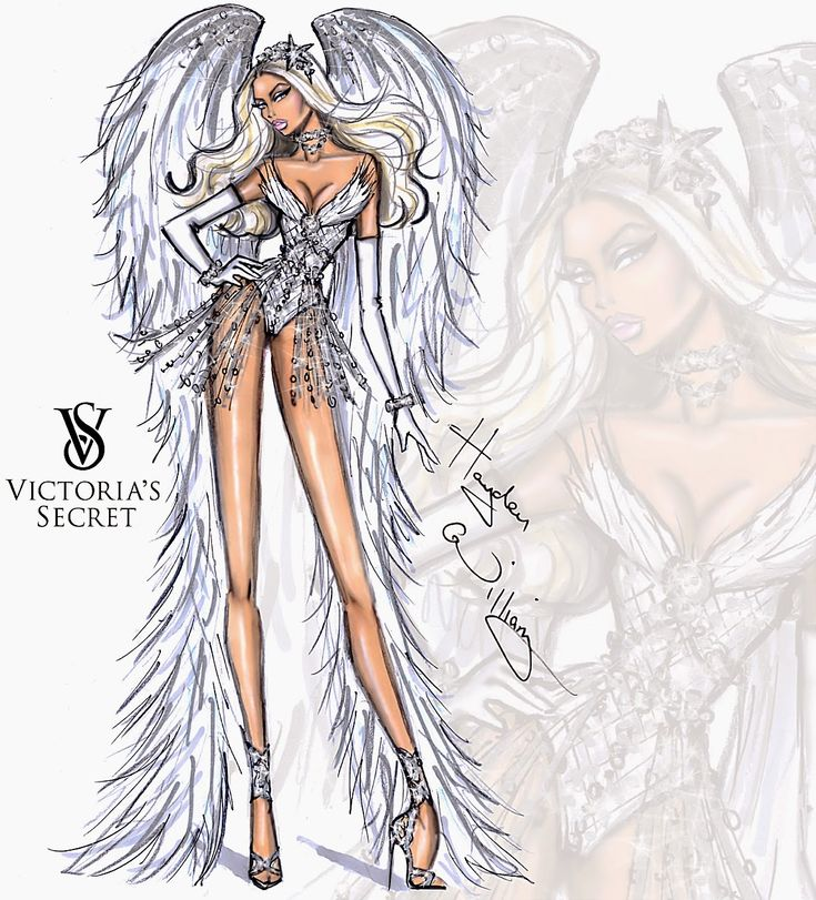 #Hayden Williams Fashion Illustrations #Victoria's Secret 2014 collection by Hayden Williams 'Winter White Angel'