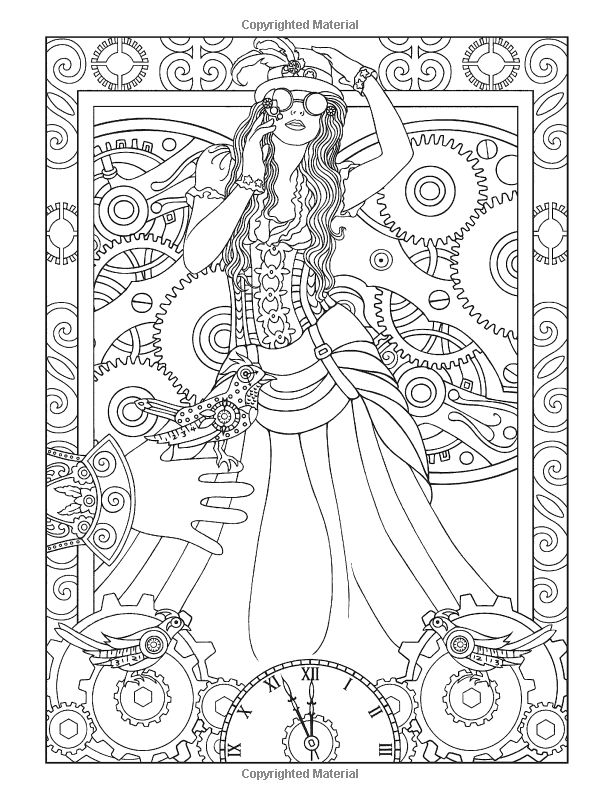 Artists Colouring Book Art Nouveau : 38 best steampunk color pages images on pinterest