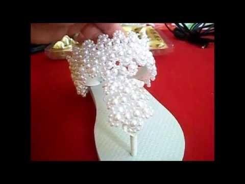 Chinelo decorado: Manta de pérola - YouTube
