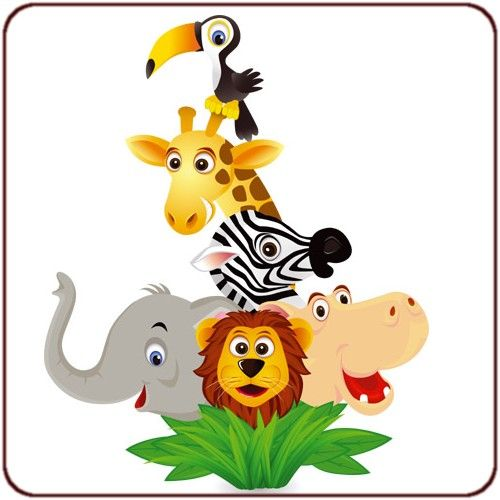 Dessin animaux de la jungle photos stickers pour enfants - Deco chambre bebe jungle ...