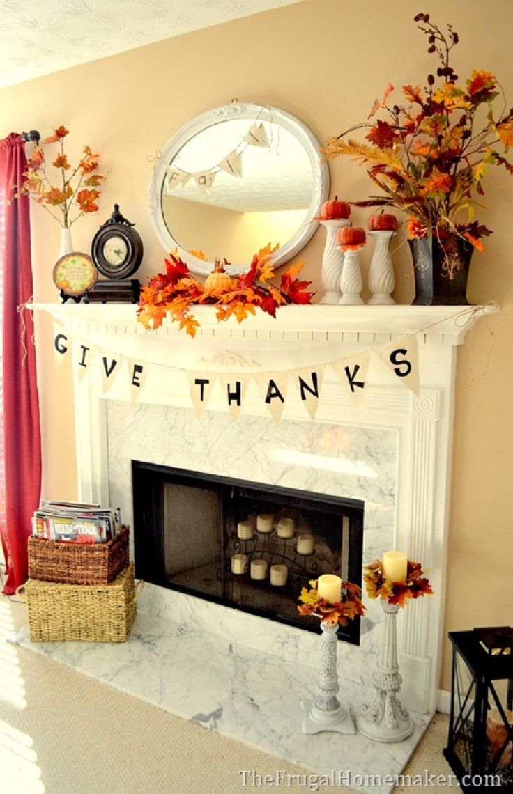 Beautiful Fall Fireplace Decor Idea for Thanksgiving