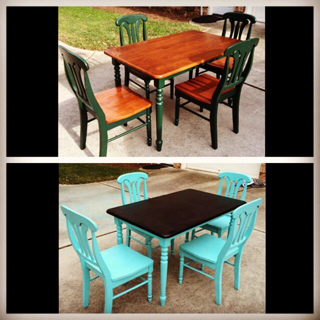 "DIY Refurbished Dining Room Table. Used Valspar ""Nautical"