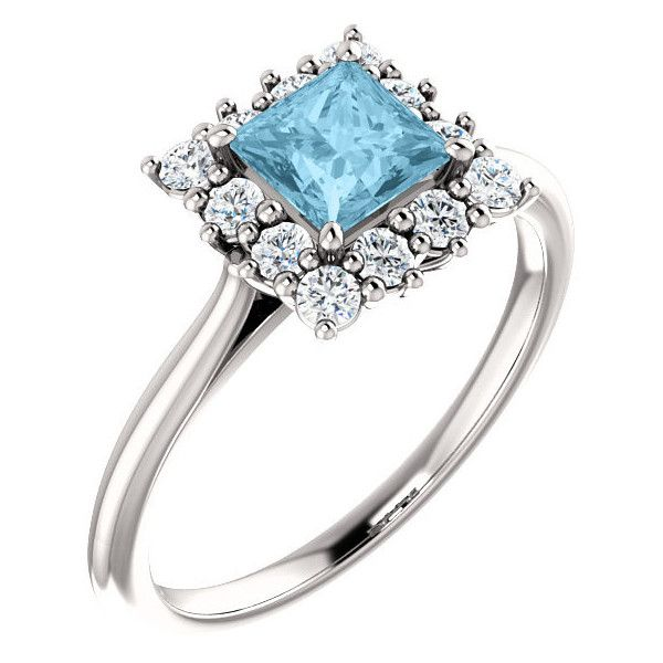 Princess-Cut Aquamarine and Diamond Halo Ring, 14K White Gold (3.165 BRL) ❤ liked on Polyvore featuring jewelry, rings, 14k jewelry, aquamarine rings, white gold rings, white gold princess cut ring and aquamarine jewellery