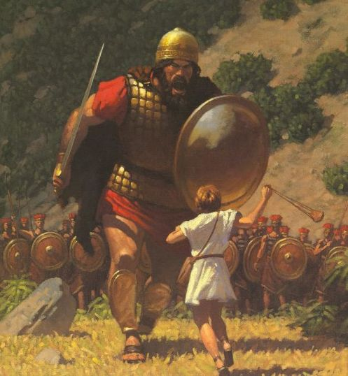 """""""David said to the Philistine, 'You come to me with a sword, a spear, and a javelin, but I come to you in the name of The Lord of hosts, the God of the armies of Israel, whom you have taunted."""" 1 Samuel 17:45"""