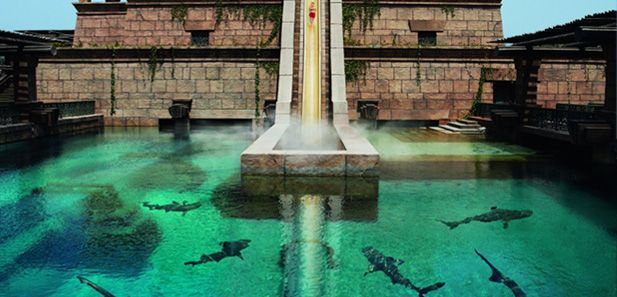 wow. the leap of faith water slide at the aquaventure water park at atlantis the palm in dubai.  you drop down through a clear tunnel that passes through a pool full of sharks!  crazy and awesome!