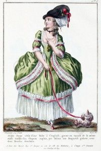 French Rococo Baroque Costume. Ancien Régime fashion hooped skirt, Farthingale.