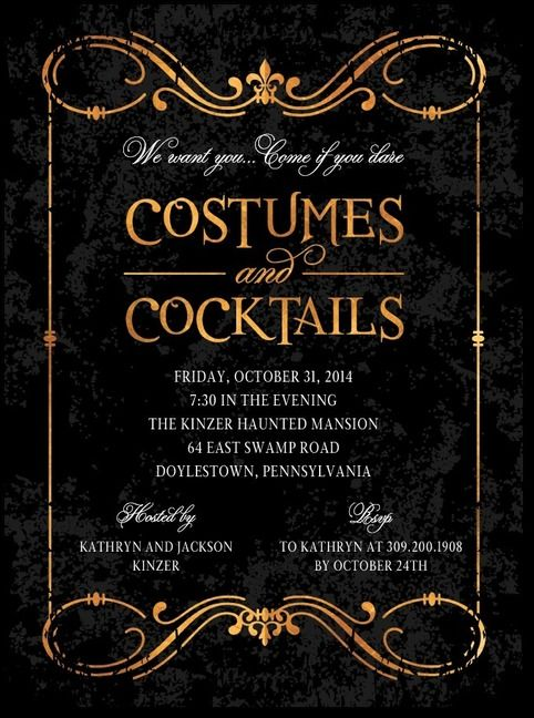 Costumes and Cocktails are all the rage around Halloween Set the - halloween invitation