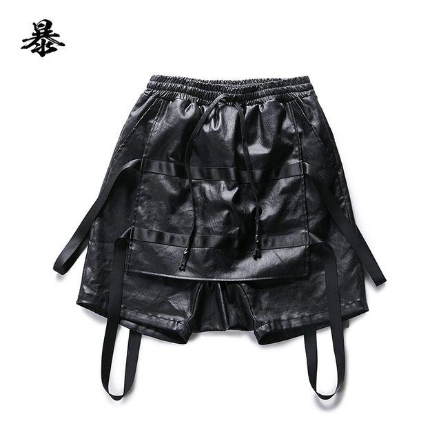 2015 homens novo projeto Original de calções masculinos patchwork falso duas peças curtas trajes cantor calças