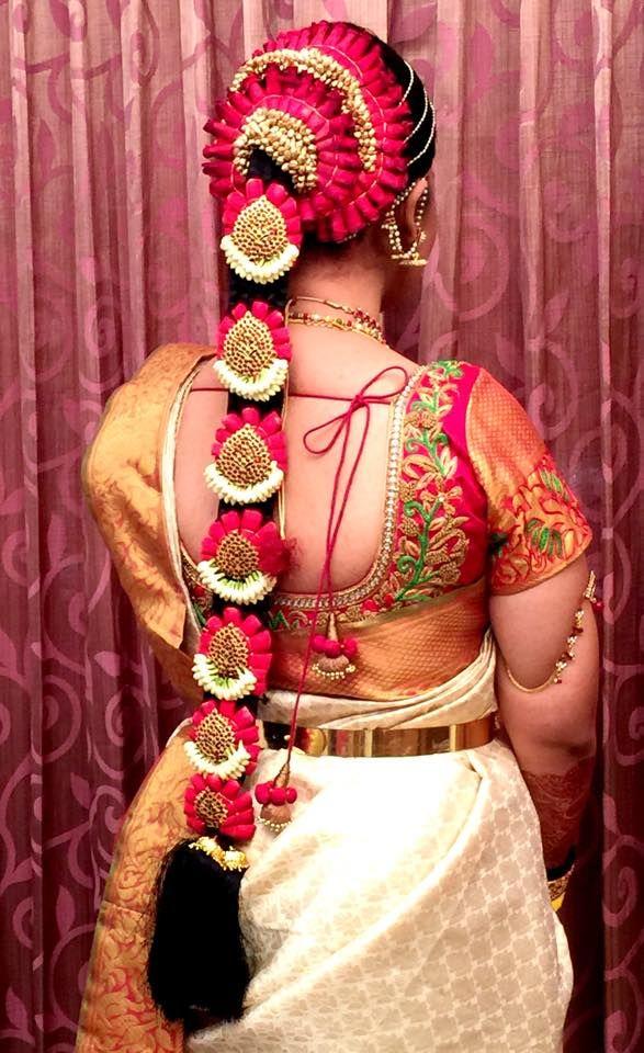 South Indian bride. Temple jewelry. Jhumkis.Cream silk kanchipuram sari with contrast blouse.Braid with fresh flowers. Tamil bride. Telugu bride. Kannada bride. Hindu bride. Malayalee bride.Kerala bride.