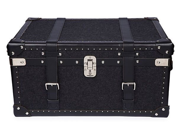 Black Wool & Leather Steamer Trunk