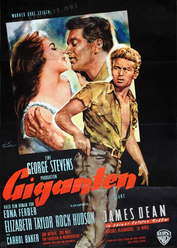 Giganten (Giant) Dt. A1 Plakat USA 1956 - Regie: George Stevens mit: James Dean, Rock Hudson, Elizabeth Taylor, Carroll Baker