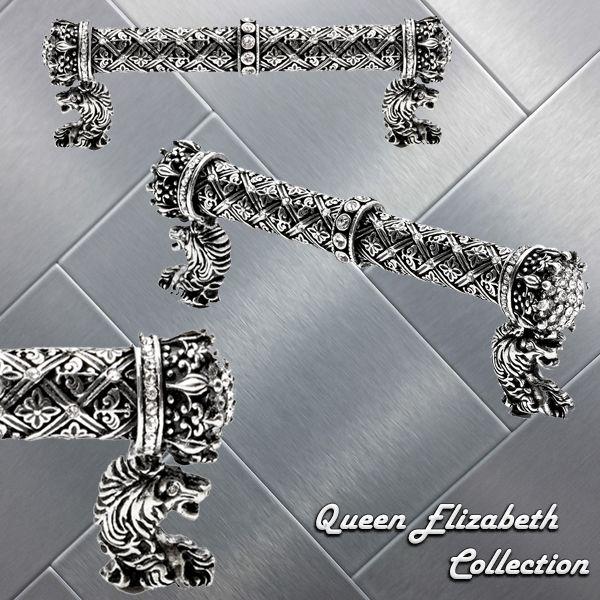 """Carpe Diem's Queen Elizabeth #6321 4"""" o.c. pull made with Swarovski Crystals #cabinethardware #kitchendesign #hardware #homedecor #bathroom #pull #knob #design #interiordesign"""