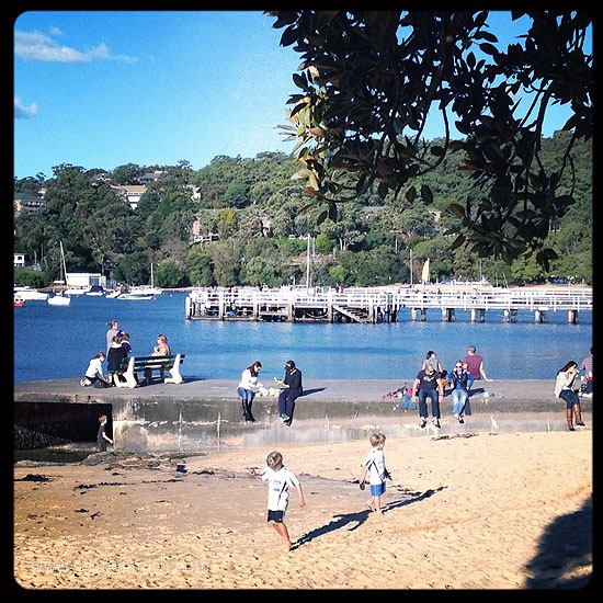 Balmoral Beach, too cold for the water  it a great spot to play
