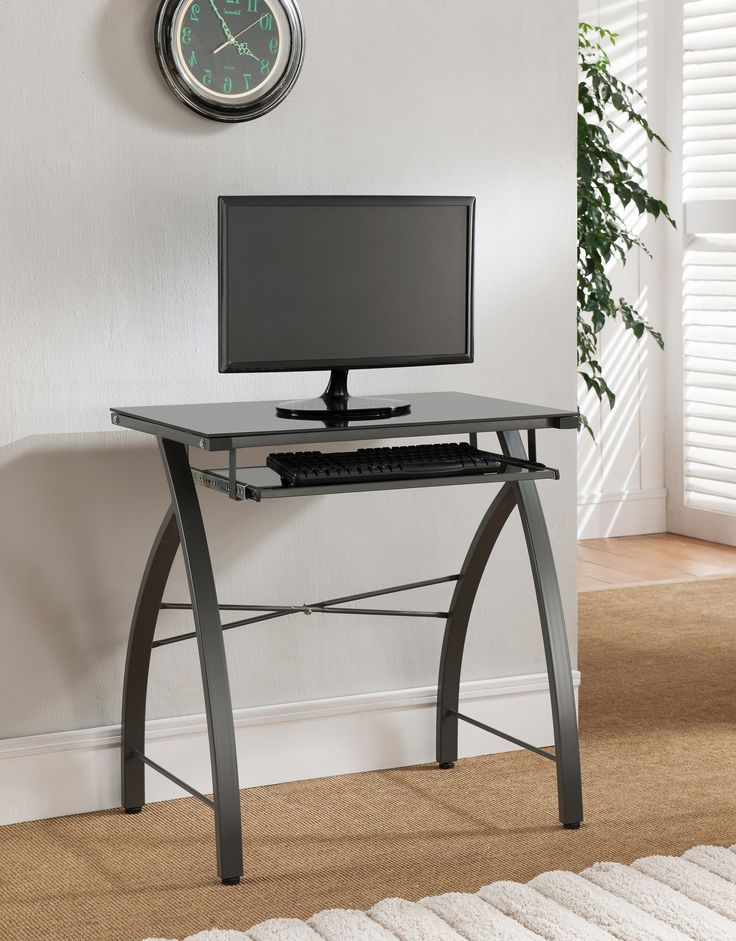 Grey & Black Tempered Glass Top Home & Office Computer Workstation Desk With Pull-Out Keyboard (Metal Frame)
