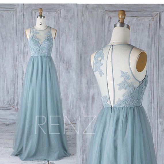 Prom Dress Dusty Blue Tulle Bridesmaid Dress Boat Neck Party Dress Illusion Lace Keyhole Back A-Line Maxi Dress Long Wedding Dress (LS351)