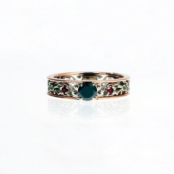 Black Diamond engagement ring Red sapphire by TorkkeliJewellery