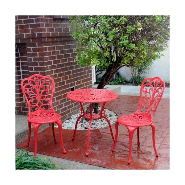 Meadow Decor Red Daisy Aluminum Bistro Set ($49) ❤ Liked On Polyvore  Featuring Home, Outdoors, Patio Furniture, Outdoor Patio Sets, Red Patio  Furniture, ...