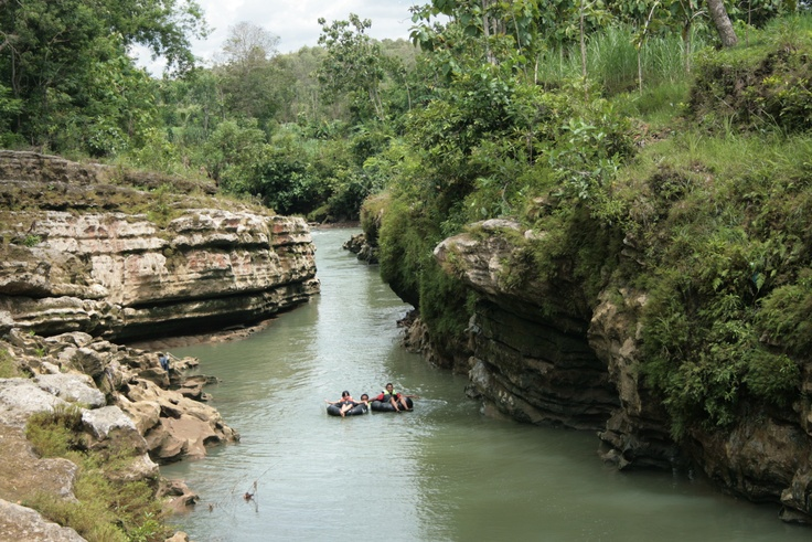 Tubbing. Oyo River, Gunung Kidul, Yogyakarta, Central Java, Indonesia.