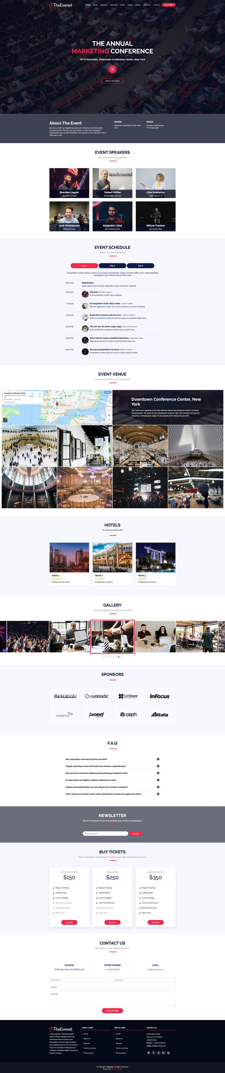 TheEvent Free responsive HTML5 Bootstrap Event template
