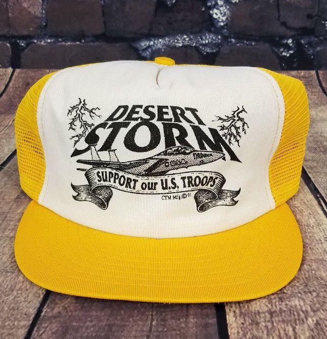 246f4b83f Vtg Desert Storm Trucker Hat Snapback Baseball Cap Mesh Made USA 90s ...