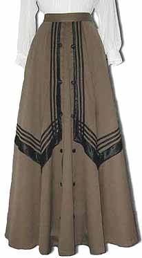 Early 1900's summer weight khaki wool skirt, trimmed with black satin striping and covered black buttons.