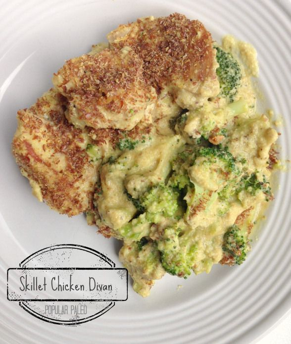 Paleo Skillet Chicken Divan  - Dairy Free Gluten Free - love using cashews instead of cheese and flax seed instead of breadcrumbs