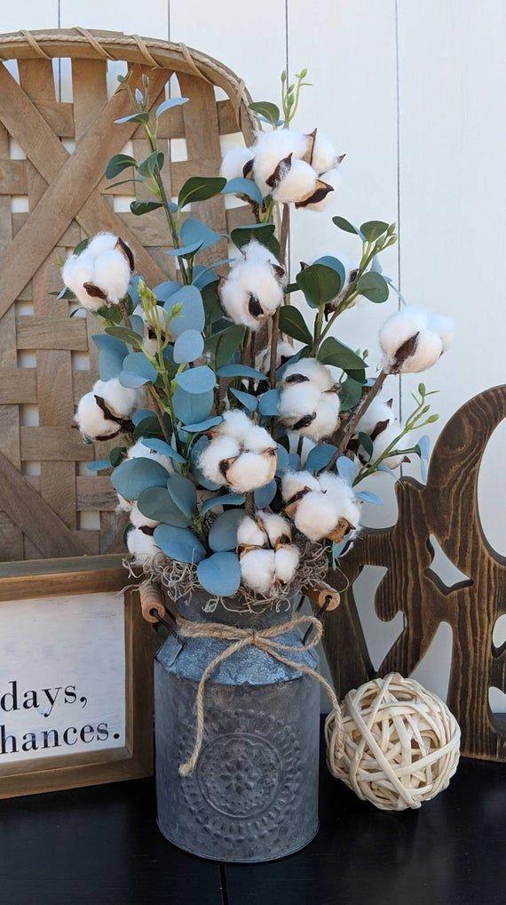 Cotton Arrangement Eucalyptus Arrangement Farmhouse Decor Etsy Farmhousedecorlivingroom Rustic Farmhouse Decor Cotton Decor Fall Decor