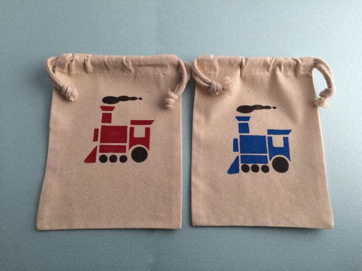 Train Party Favor Bags with Blue Train and Red Train Design- Muslin Bags With Transport Designs, Train Party Supplies by MadHatterPartyBox on Etsy https://www.etsy.com/listing/256056755/train-party-favor-bags-with-blue-train