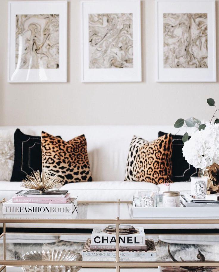 Coffee Table Living Room Decor Leopard Home Accents Gallery Wall Interior Inspo Interior Inspo Glam Living Room Leopard Living Rooms Luxury Living Room
