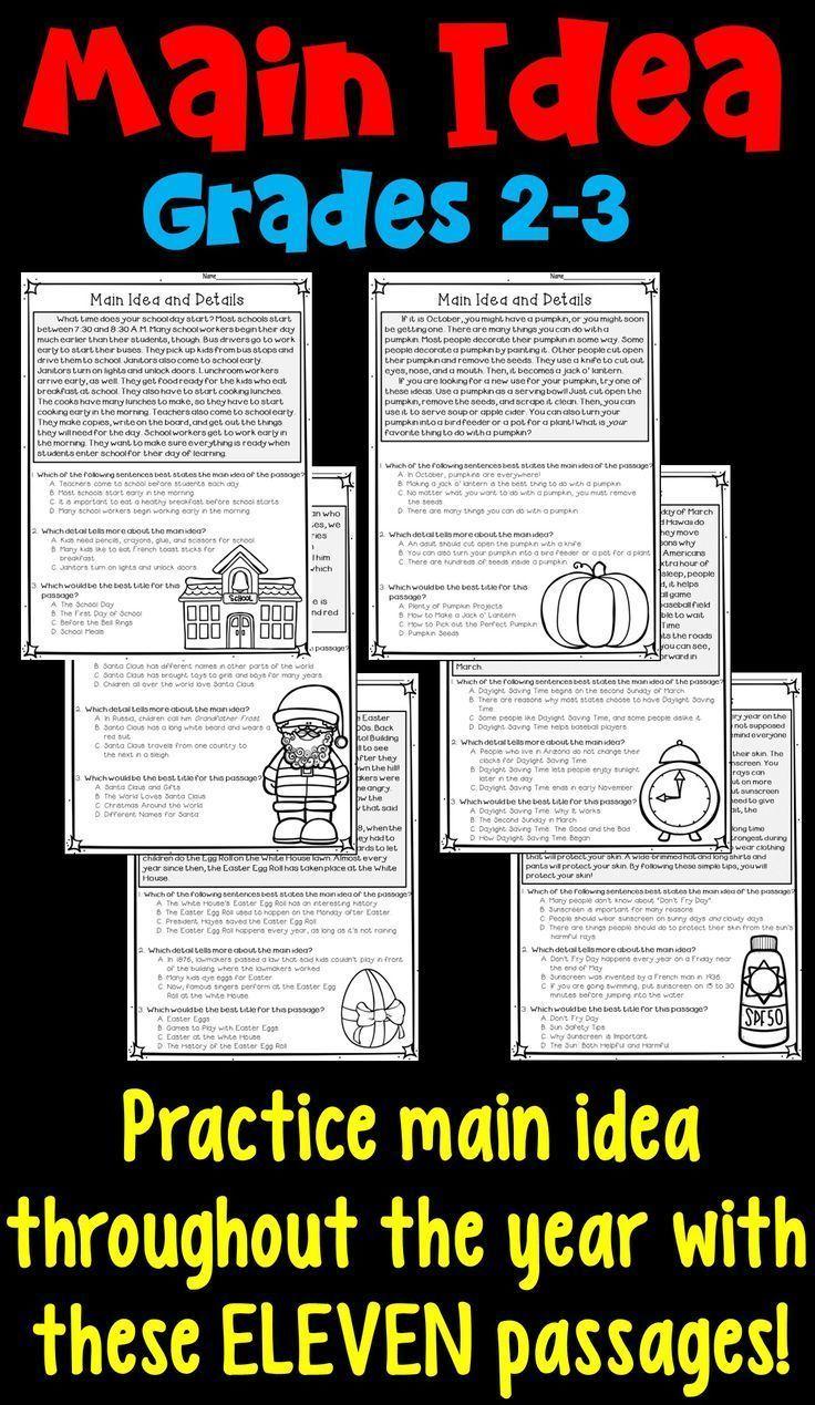 Printable 5th Grade Main Idea Worksheets Main Idea Worksheet Reading Comprehension Worksheets Main Idea Lessons