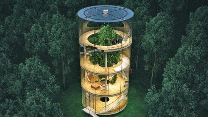Rumah Unik - Mengagumkan! Hunian Ini Berada di Tengah Hutan, Ada Pohon Pinus di…
