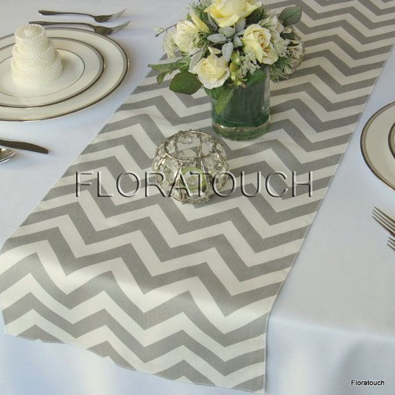 Gray and White Chevron Wedding Table Runner by floratouch on Etsy, $12.00