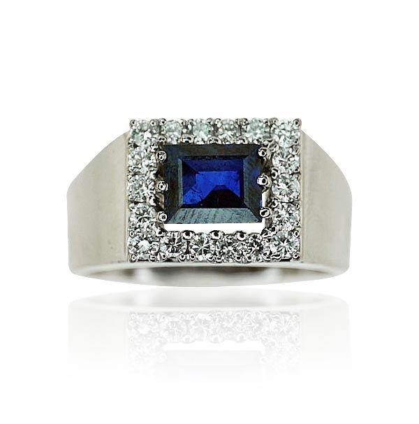 Saphir-Diamant-Ring in Weissgold mit einem 2,074ct Saphir und 0,581ct Diamanten  2,07ct #Saphir 0,58ct #Diamanten extravagante Energien! #Ring #Schönheit in exklusivem Setting http://www.schmuck-boerse.com/ring/182/detail.htm #vintage #jewels #secondhand #schmuck