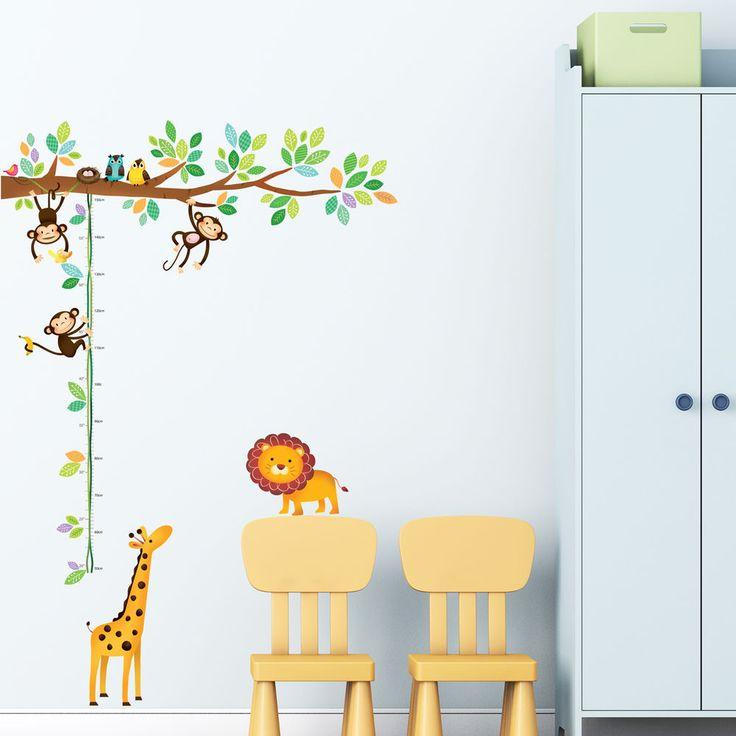 Decowall Wall Stickers Monkey Height Chart 1402 Children Nursery Vinyl Decals  #DecowallDW1402 #EducationalGoodforChildren