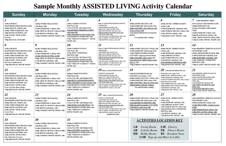 Sample Monthly ASSISTED LIVING Activity Calendar - PDF