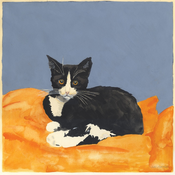 """Watercolor and acryllic painting by Jake Marshall. """"Baby Alice,"""" a kitty who went to chase slow-moving mice in the Big Sky."""