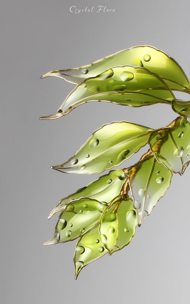 Transparent spring leaves Crystal Hair pin Resin kanzashi Brooch / hair ornament  @crystalflora_official