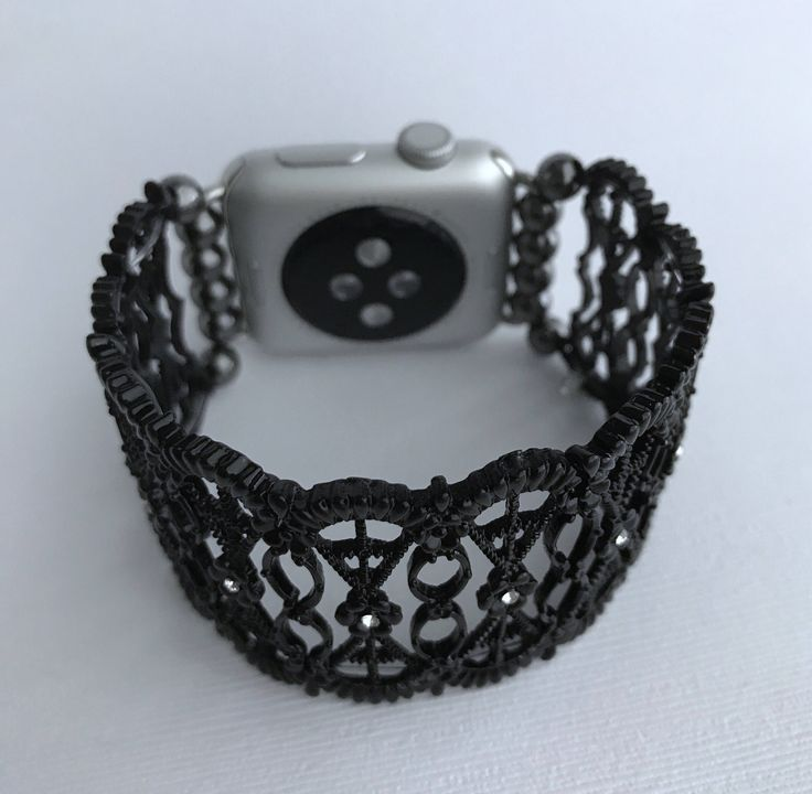 Apple Watch Band Women's 38/42mm Stretchy Bracelet - Intricate Black by TrendyTechShop on Etsy https://www.etsy.com/listing/517068476/apple-watch-band-womens-3842mm-stretchy