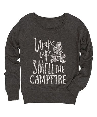 Look at this #zulilyfind! Heather Charcoal 'Wake Up' Slouchy French Terry Pullover #zulilyfinds