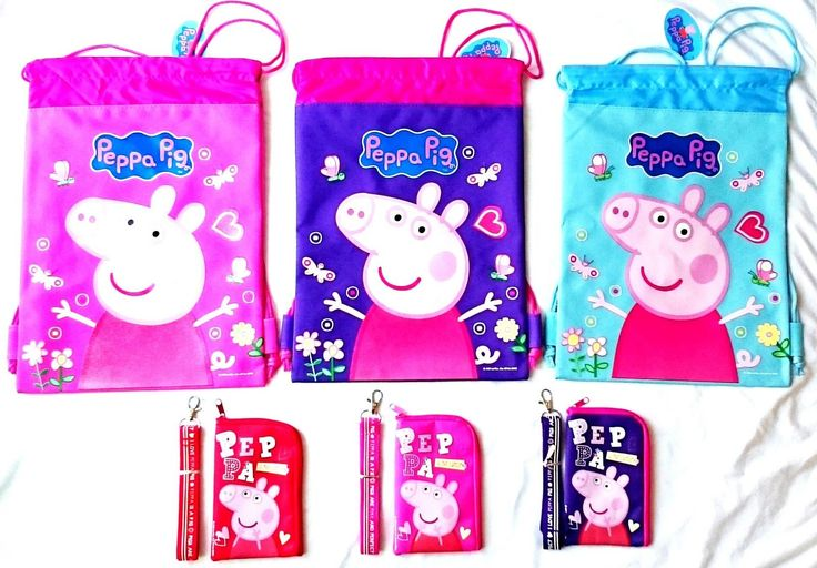 Peppa Pig 3 Drawstring Backpack & 3 Lanyard Id Pouch Cutest Collection Gift Set