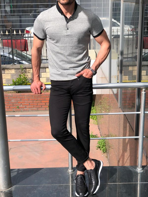 Gray Slim Fit Polo Shirt, Black Jeans, and Black Laced Sneaker ...