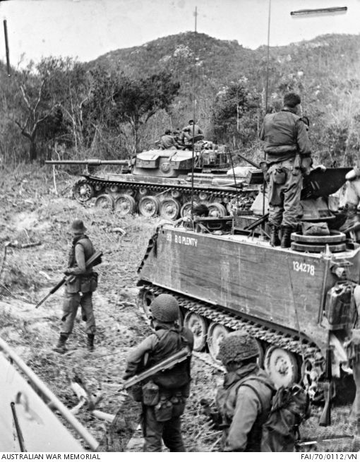Australian troops prepare to sweep through thick scrub in the Long Hai mountains in South Vietnam during Operation Hammersley. The men, of 8th Battalion, The Royal Australian Regiment (8RAR) https://www.awm.gov.au/collection/FAI/70/0112/VN/