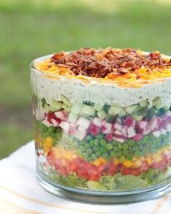 Our Favorite SEVEN-LAYER SALAD recipe: pretty & delicious, great for parties, picnics, & potlucks!