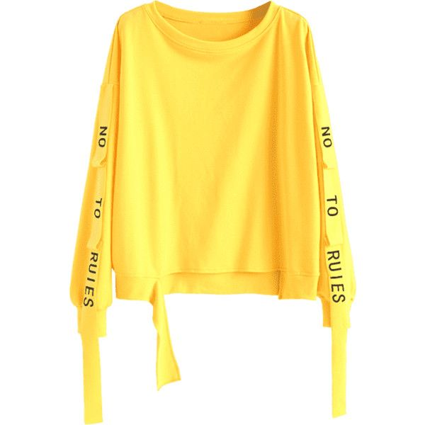 Letter Ribbons Cutout Sweatshirt ($30) ❤ liked on Polyvore featuring tops, hoodies, sweatshirts, cut out detail top, cutout tops, initial sweatshirt, cut-out shoulder tops and yellow top