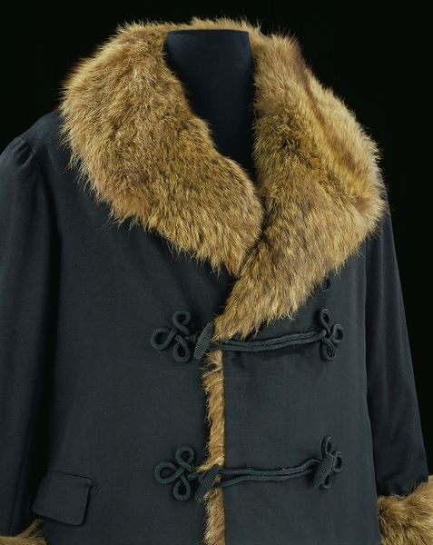 1850-1890, United Kingdom - Overcoat - Woven wool, lined with Russian wolf-skin, fastened with olivets, trimmed with braid frogging