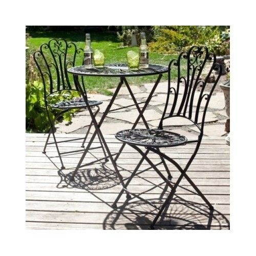 Folding Iron Bistro Table Set Round Chairs Spiral Dining Patio Porch Yard  Black